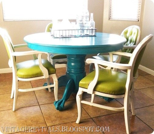 Vintage revivals meet my new kitchen table and command for Ideas for painting dining room table and chairs