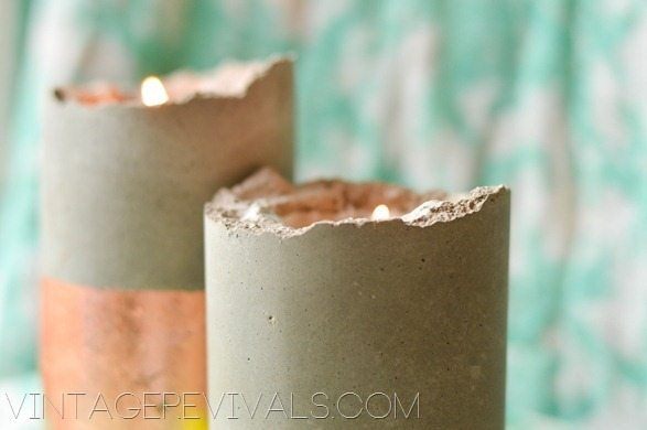 DIY Copper and Concrete Candle Holder