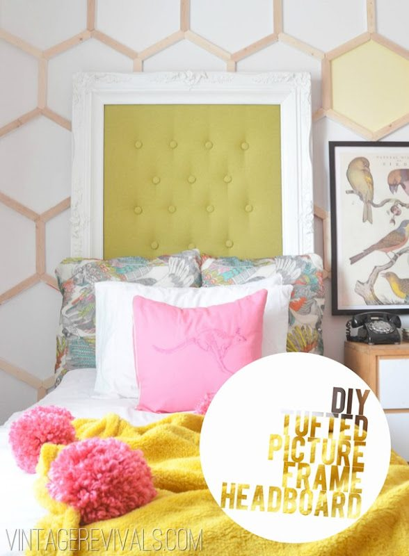 Tufted Picture Frame Headboard Tutorial @ Vintage Revivals[5]