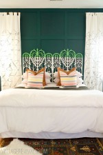 Spearmint Color Blocked Vintage Wicker Headboard
