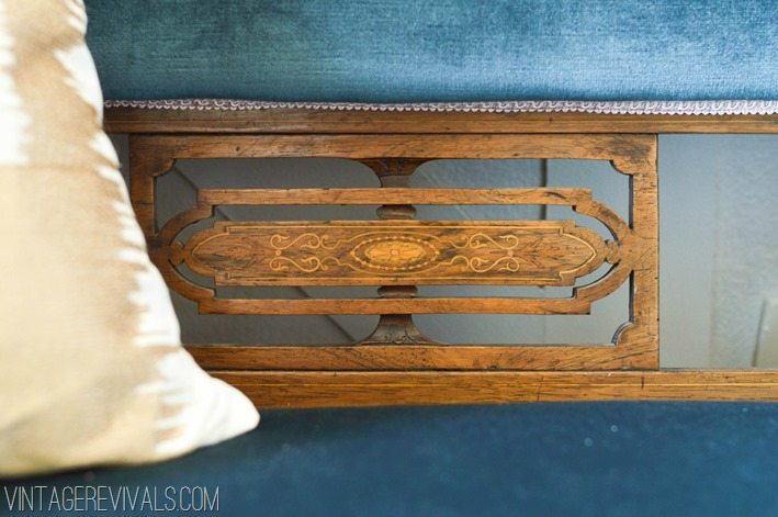 Antique Wood Inlay Settee  Maskcara Office Makeover vintagerevivals.com