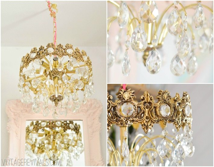 Crystal Chandelier Maskcara's Office Makeover vintagerevivals.com