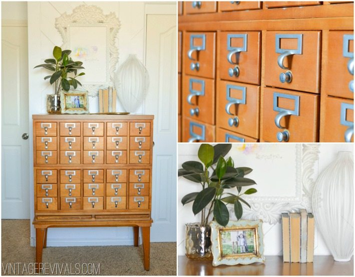 Vintage Card Catalog Maskcara Office Makeover vintagerevivals.com