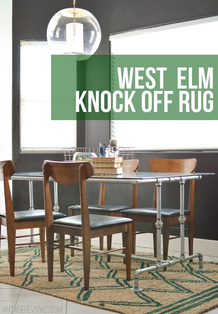 How To Paint A West Elm Knock Off Rug Tutorial vintagerevivals
