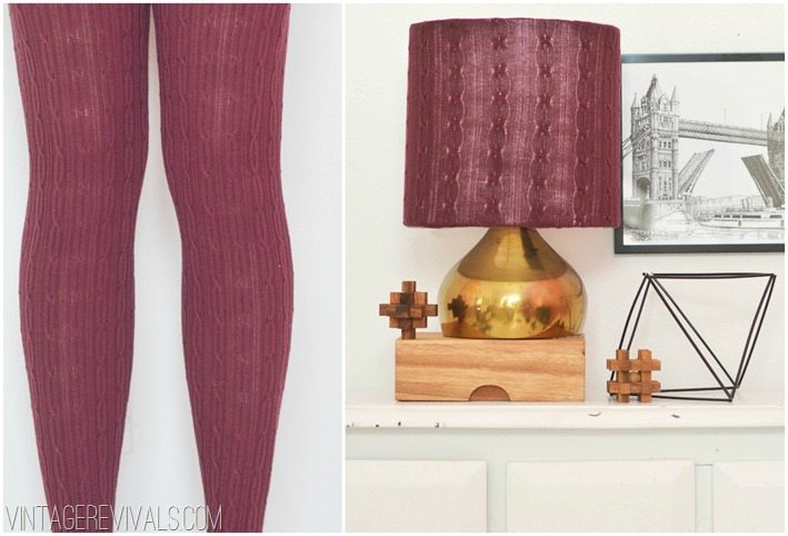Cableknit Tights turned into a lampshade