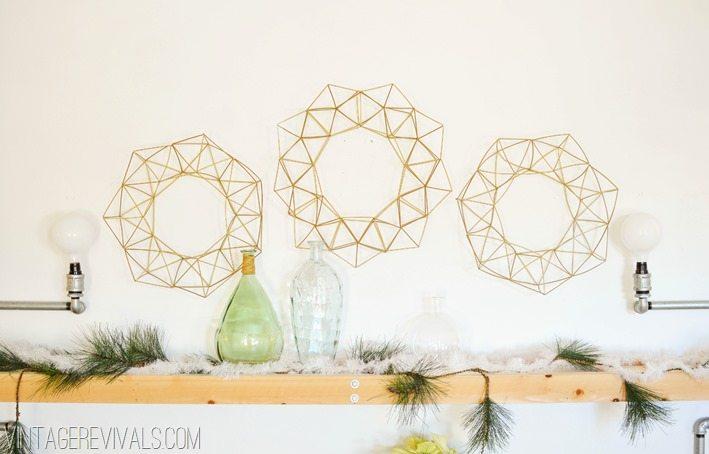DIY Geometric Himmeli Wreath vintagerevivals.com