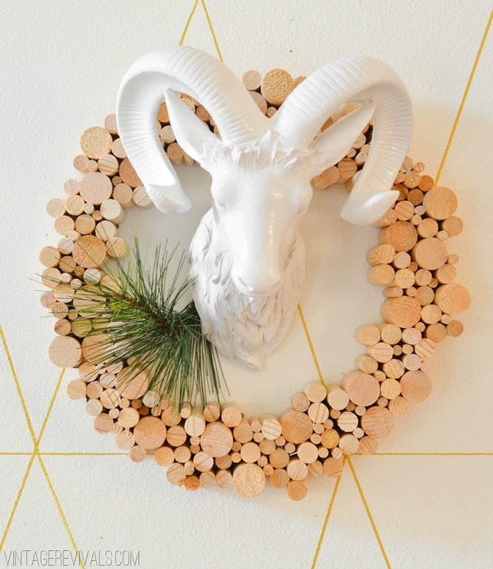 DIY White Christmas Dowel Wreath White Ceramic Ram Head vintagerevials.com