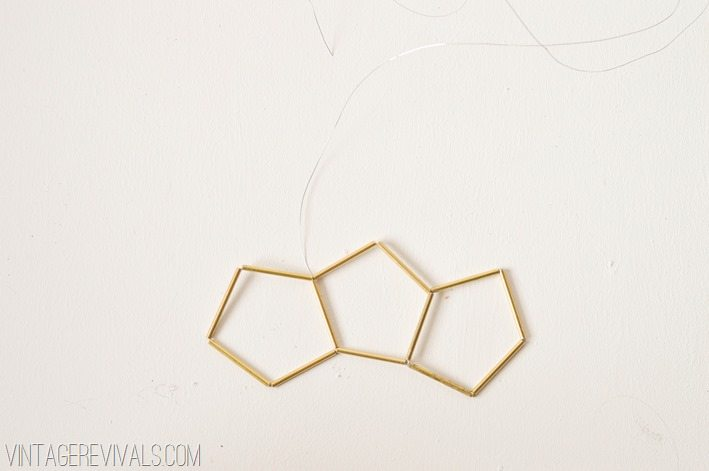 Geometric Brass and Leather Hanging Planter-Step 4