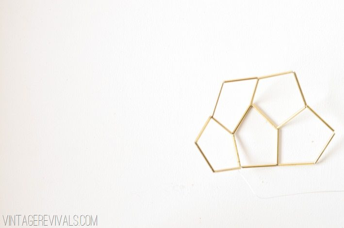 Geometric Brass and Leather Hanging Planter-Step 6