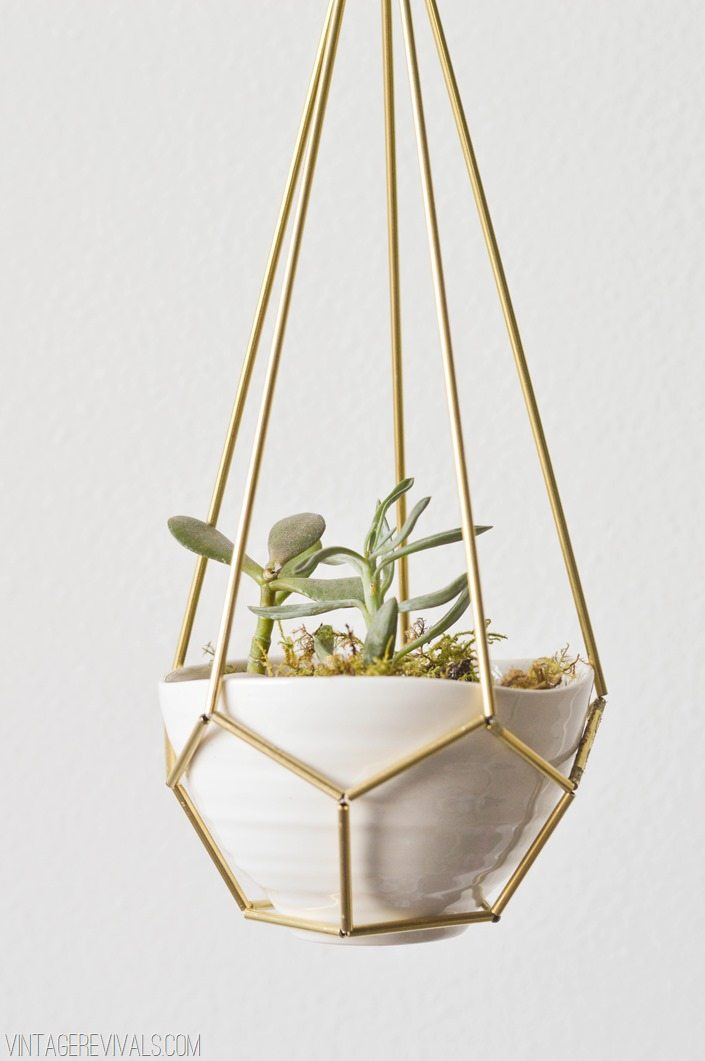 Geometric Brass and Leather Hanging Planter Tutorial vintagerevivals.com