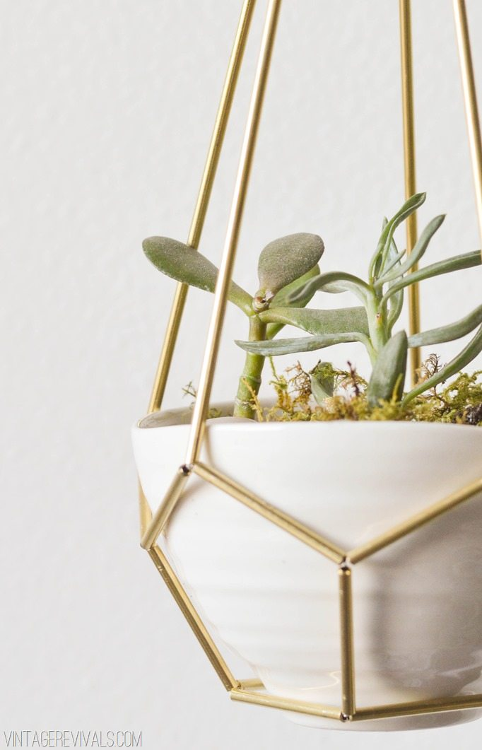 Diy Leather And Brass Teardrop Hanging Planter Vintage