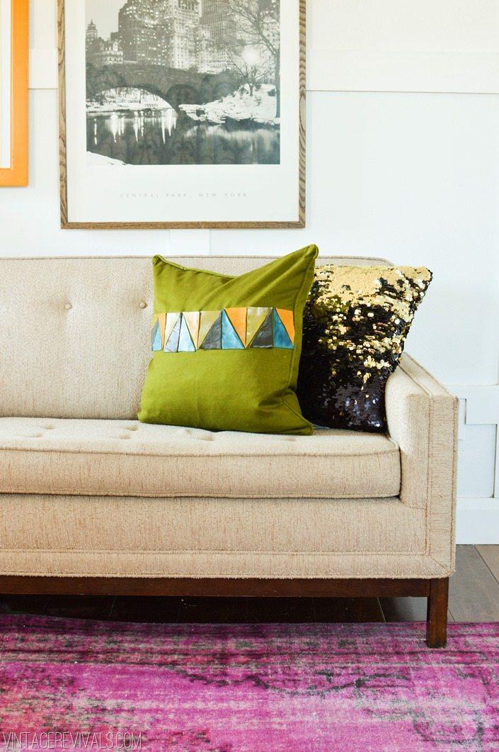 Leather Scrap Triangle Pillow Tutorial vintagerevivals.com