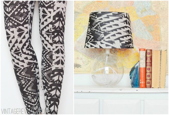 Tribal tights turned into a lampshade!