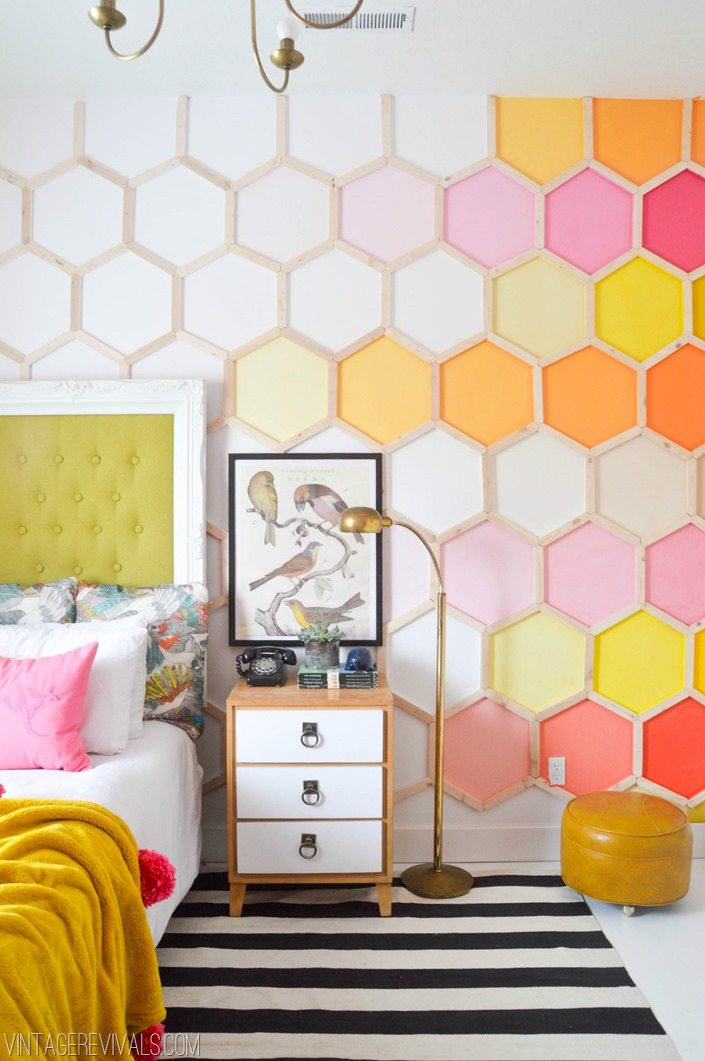 rainbow honeycomb wall little girls room makeover vintage revivals 2