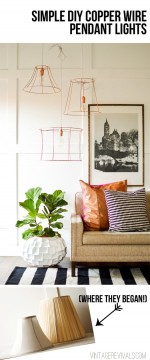 Rock What Ya Got: Upcycled Copper Wire Pendant Lights (from ugly lampshades!)