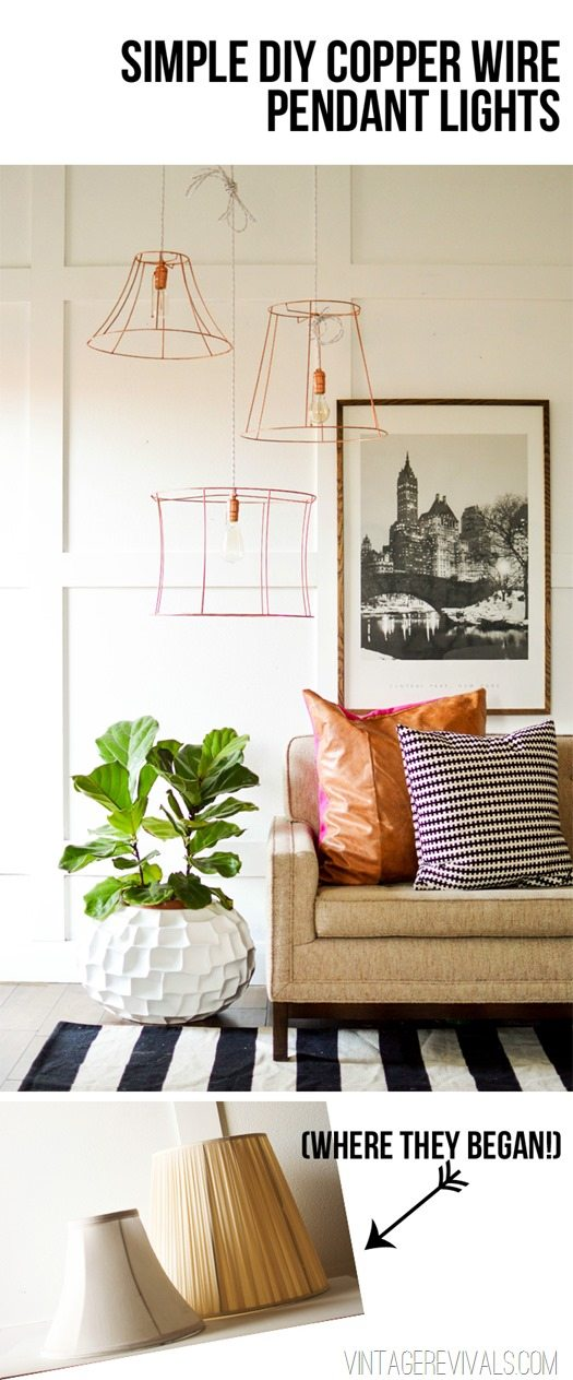 Rock what ya got upcycled copper wire pendant lights from ugly simple diy copper wire pendant lights vintagerevivals keyboard keysfo Image collections