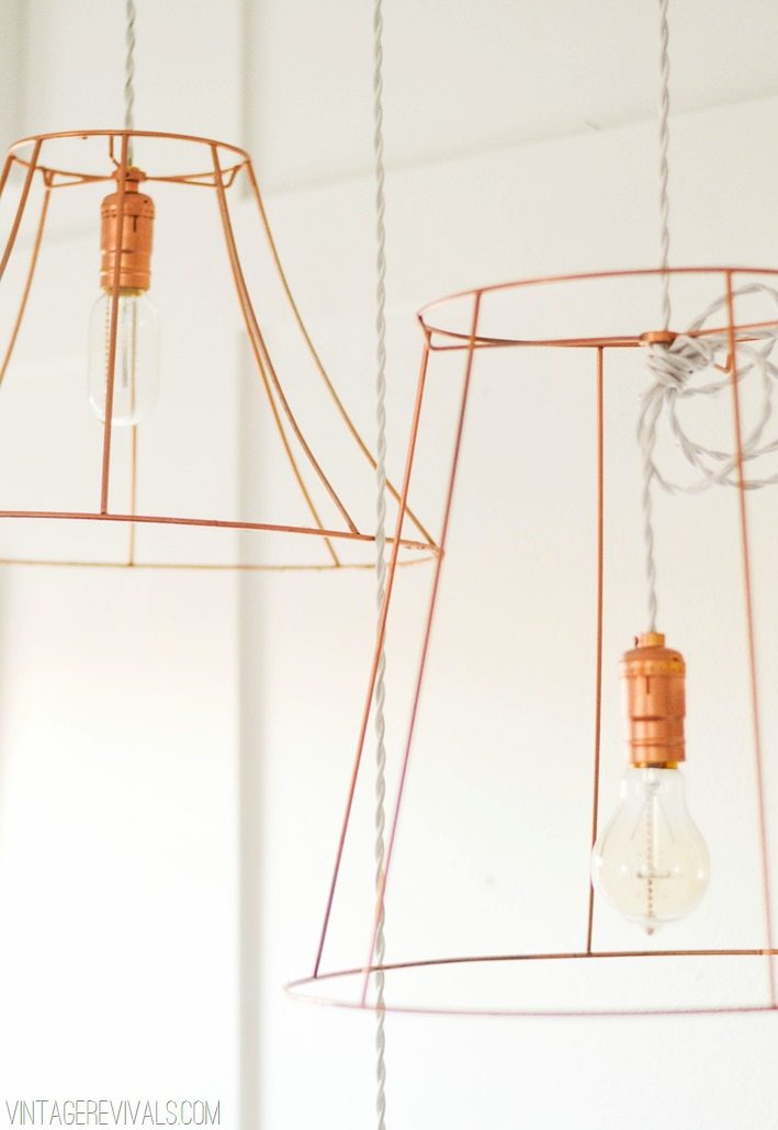 Rock what ya got upcycled copper wire pendant lights from ugly upcycle lighting projects vintagerevivals copper lighting ideas greentooth Image collections