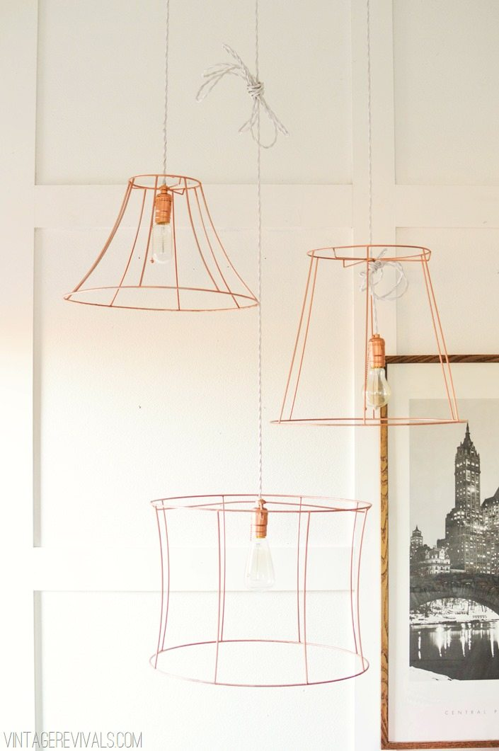 Upcycled Lampshades into a Simple Hanging Light Fixture vintagerevivals.com
