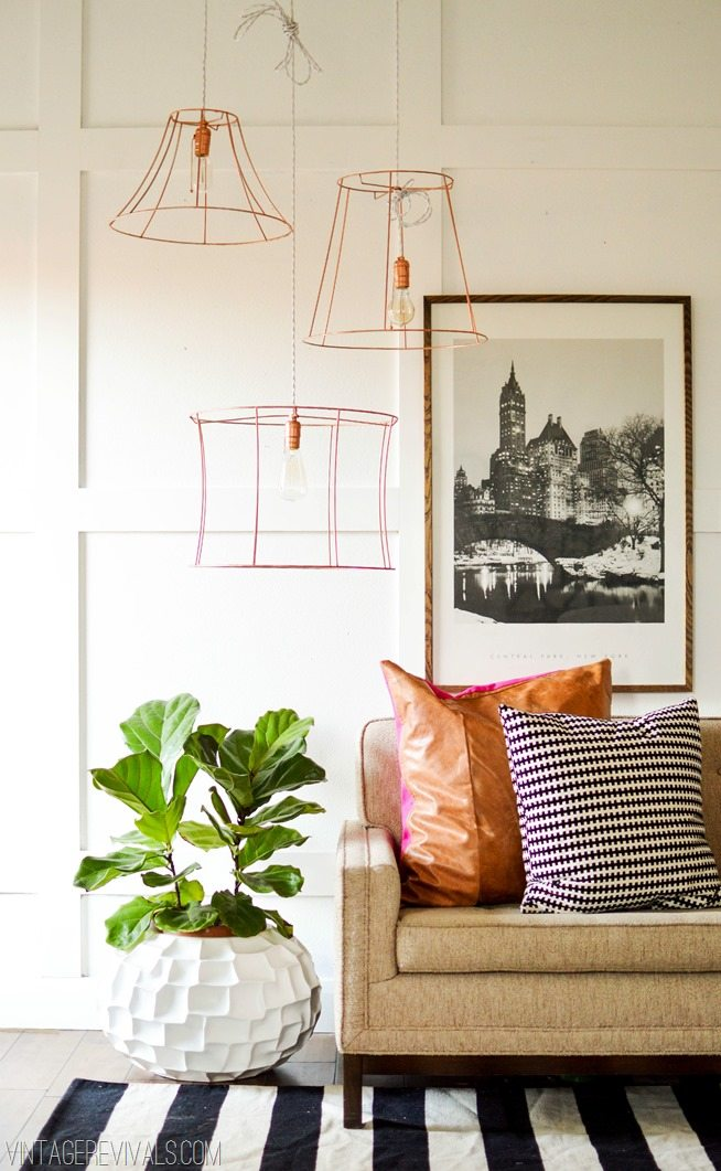 Upcycled Lampshades into a Wire Light Fixture vintagerevivals.com