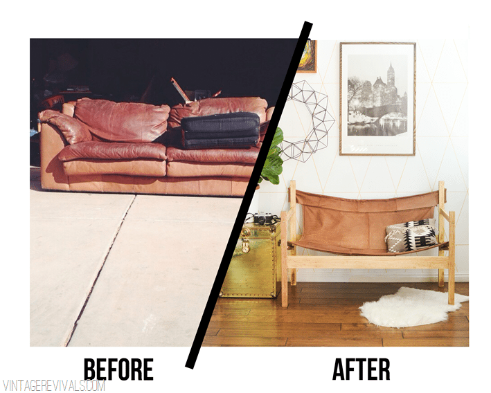 vintage revivals ugly sofa upcycled into leather safari sling bench