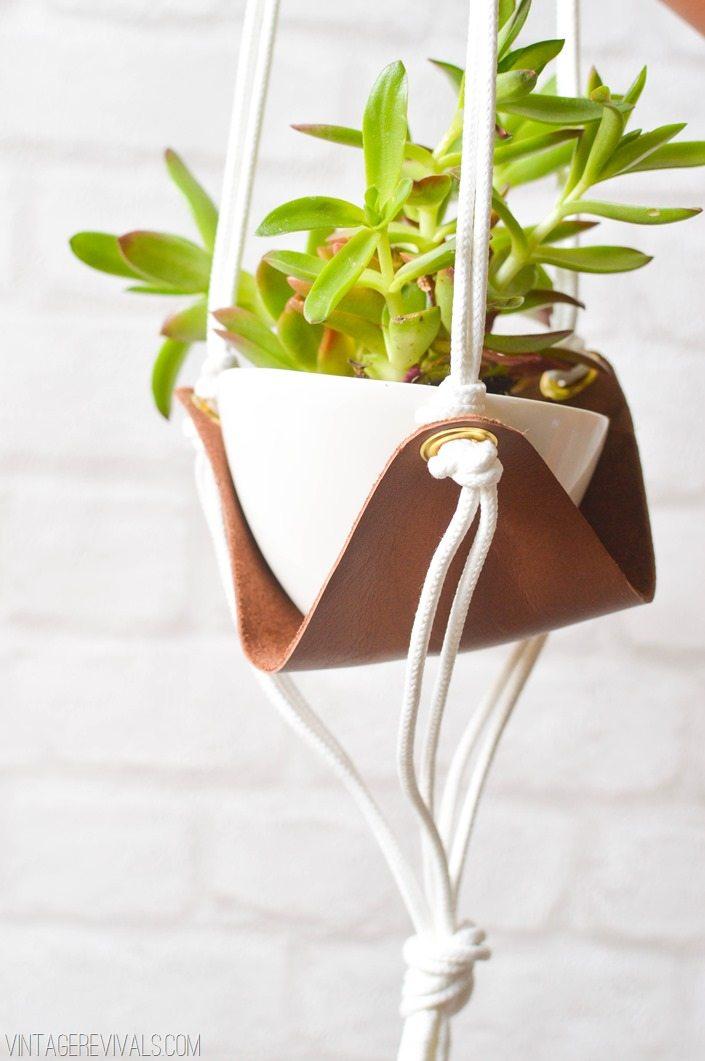 Hanging Leather Sling Planter Tutorial vintagerevivals.com-4