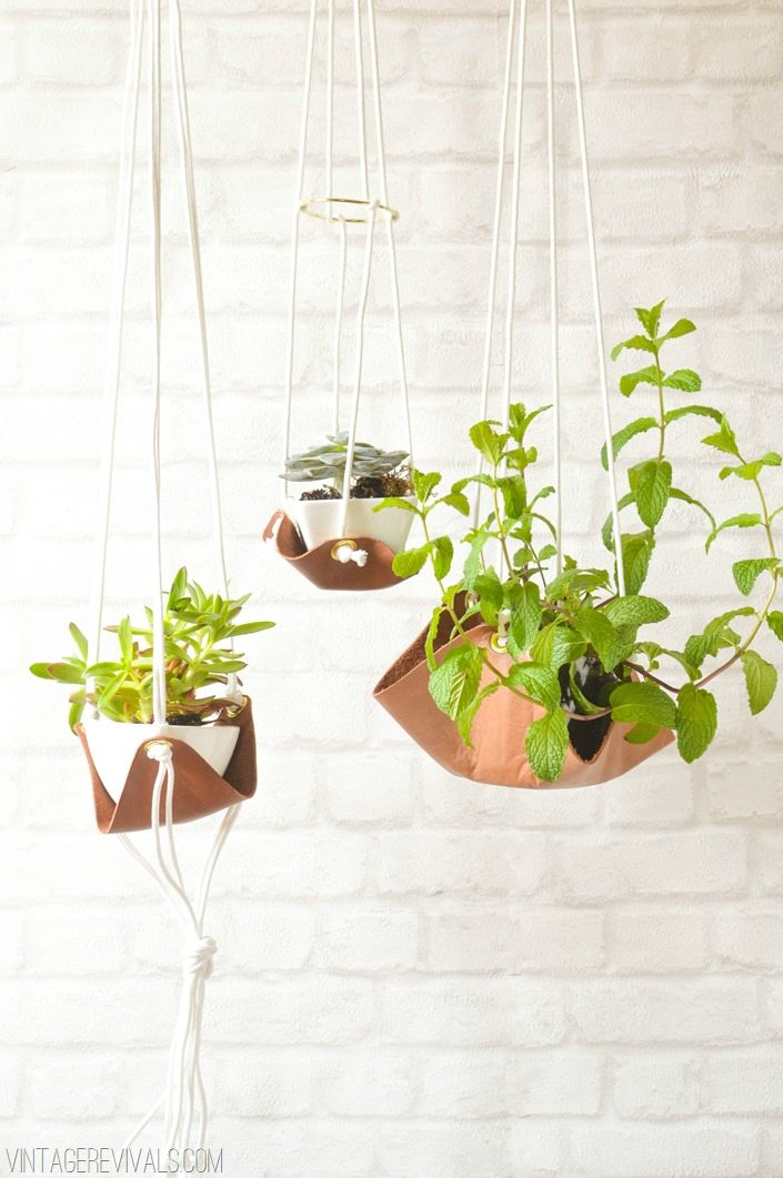 Upcycled Hanging Leather Sling Planter Tutorial vintagerevivals