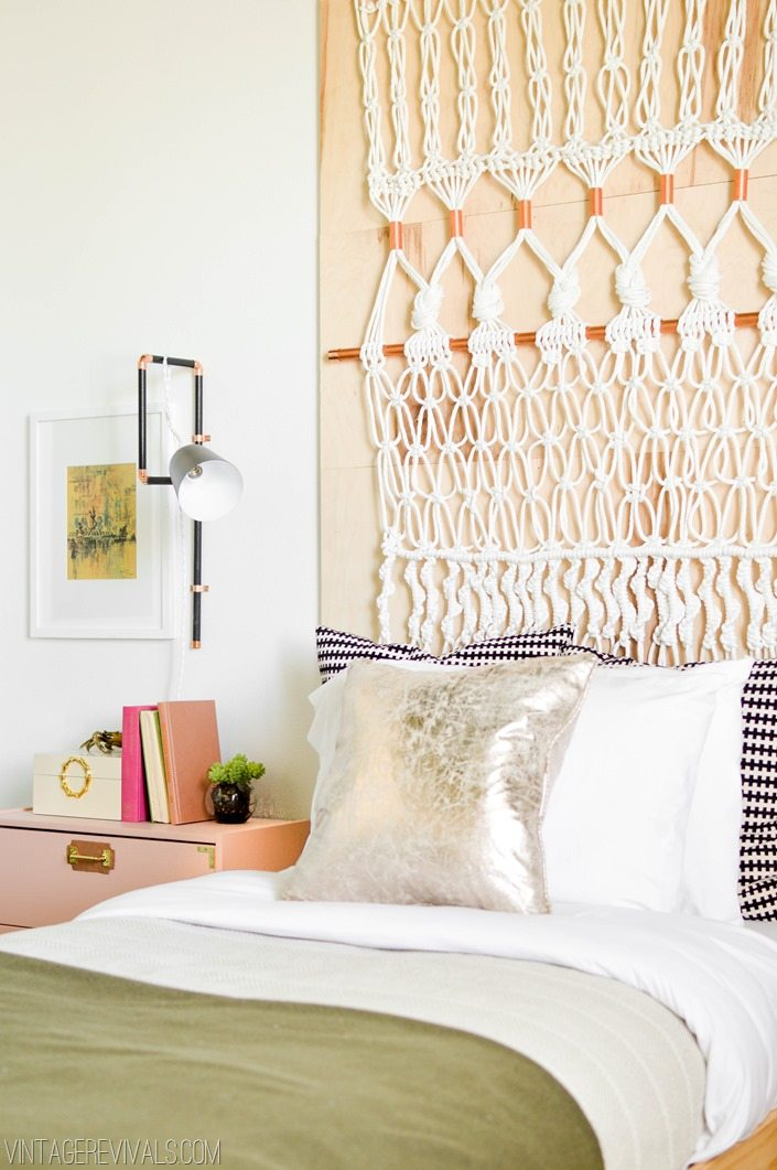 Macrame Headboard and Wall Mounted Task Lights vintagerevivals.com