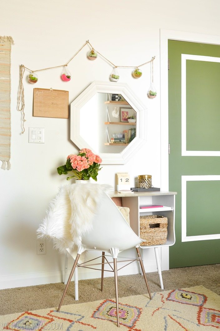 Upcycled Desk and Chair  Succulent Garland Teenage Girl's Boho Bedroom Makeover