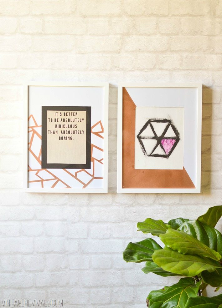 DIY Copper Geometric Picture Mats vintagerevivals