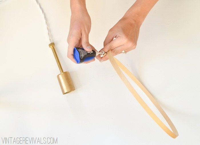 DIY Halo Hanging Pendant Light-11
