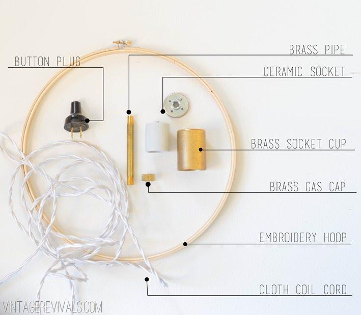 DIY Hanging Hoop Pendant Light Supplies