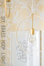 DIY Wood and Brass Hanging Hoop Pendant Lights