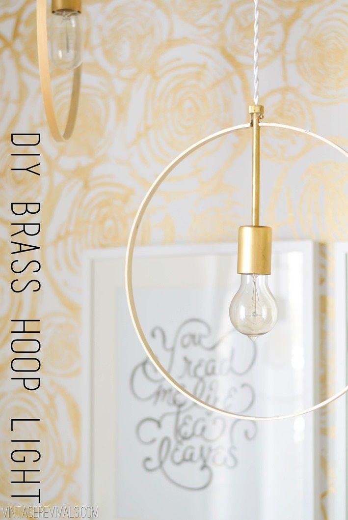 Diy Wood And Brass Hanging Hoop Pendant Lights Vintage