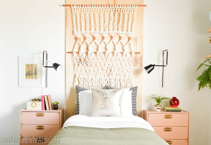 Macrame Headboard Wool Army Blanket Teenage Girl's Bedroom Makeover vintagerevivals.com