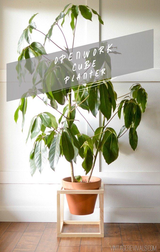 DIY Openwork Cube Planter Tutorial vintagerevivals.com