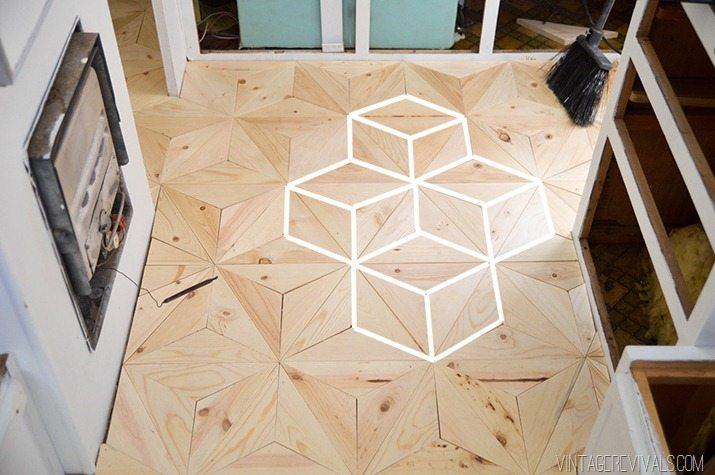 The Nugget Diy Geometric Wood Flooring For 80 Vintage