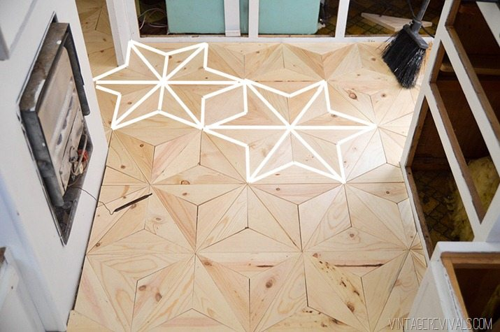 DIY Geometric Wood Floor Star vintagerevivals.com-28 - The Nugget: DIY Geometric Wood Flooring For $80! - Vintage Revivals