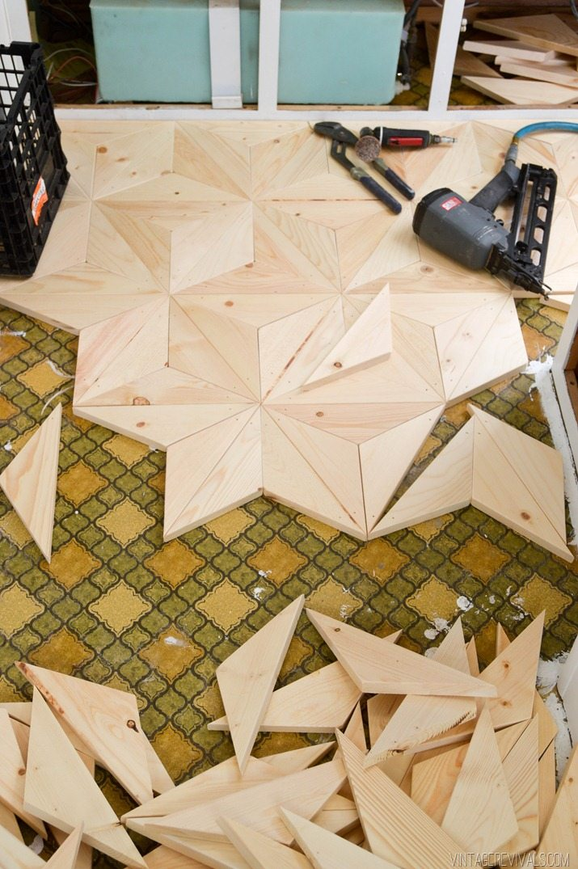 wood floors pattern. DIY Geometric Wood Floor vintagerevivals com 16 The Nugget  Flooring for 80 Vintage Revivals