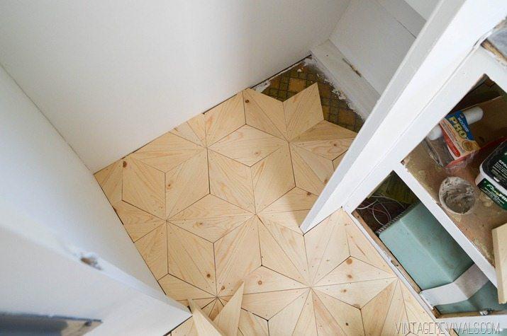 DIY Geometric Wood Floor vintagerevivals.com-21