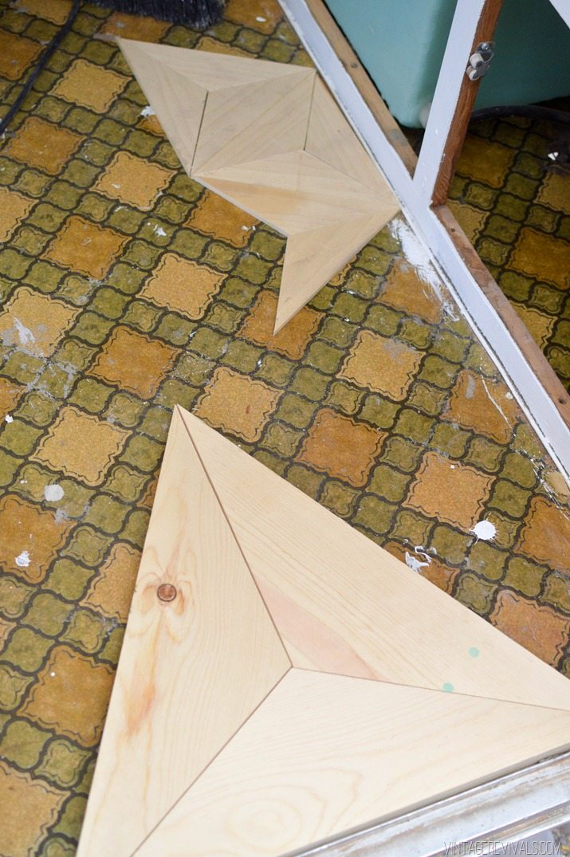 DIY Geometric Wood Floor vintagerevivals.com