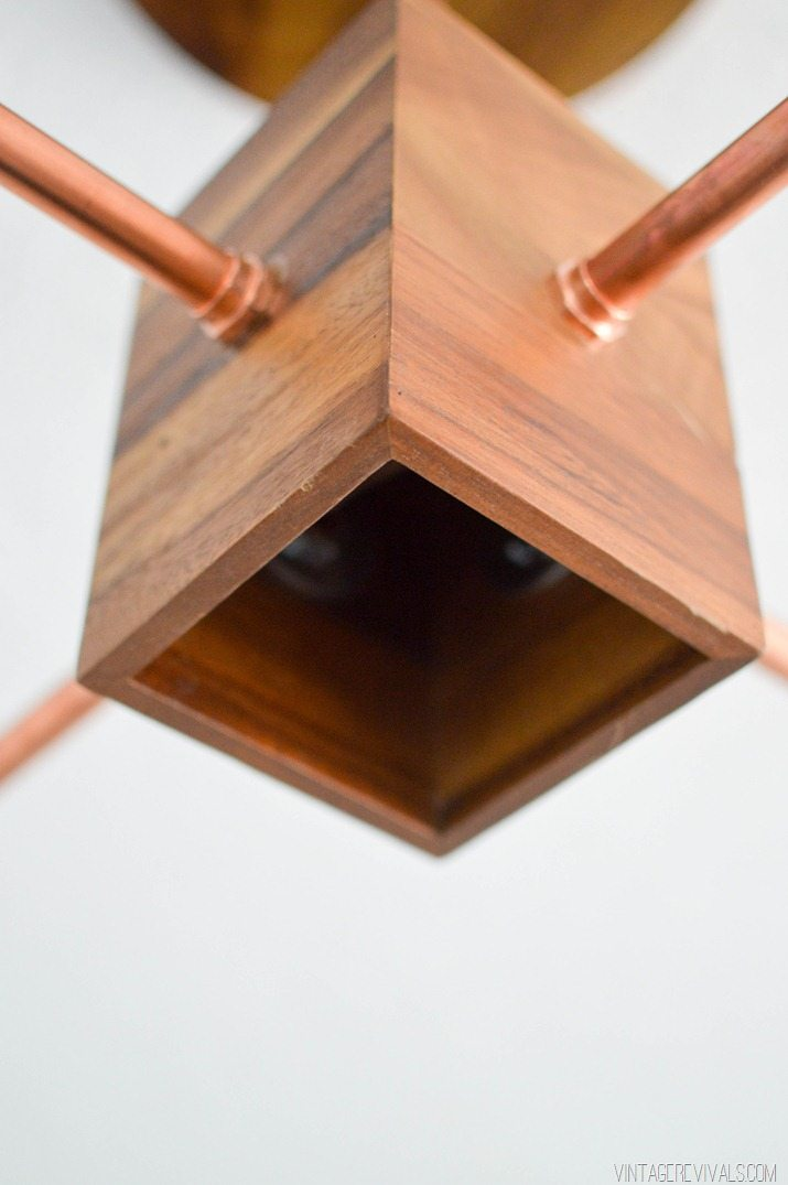 DIY Copper and Wood Hanging Light Fixture | Vintage ...