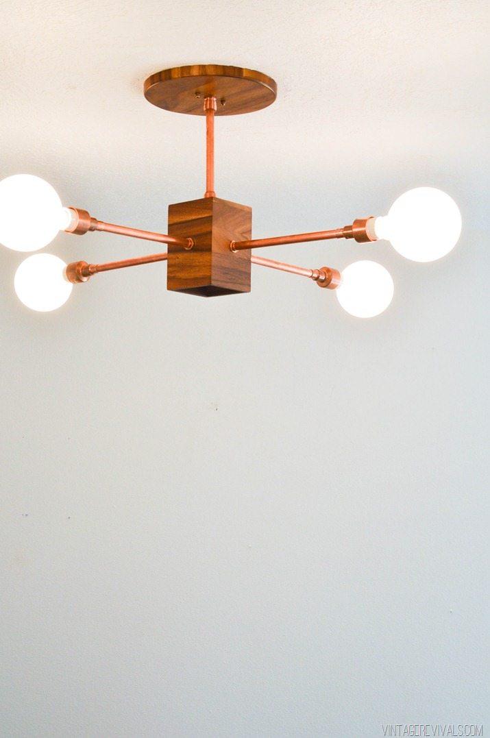 Diy Copper And Wood Hanging Light Fixture Vintage Revivals