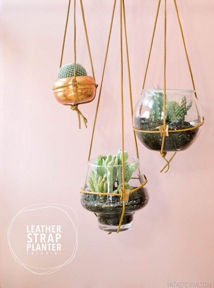 leather strap hanging planter tutorial vintagerevivals - Diy Hanging Planter