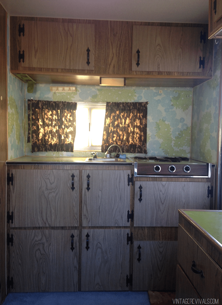 Vintage Trailer Kitchen Before