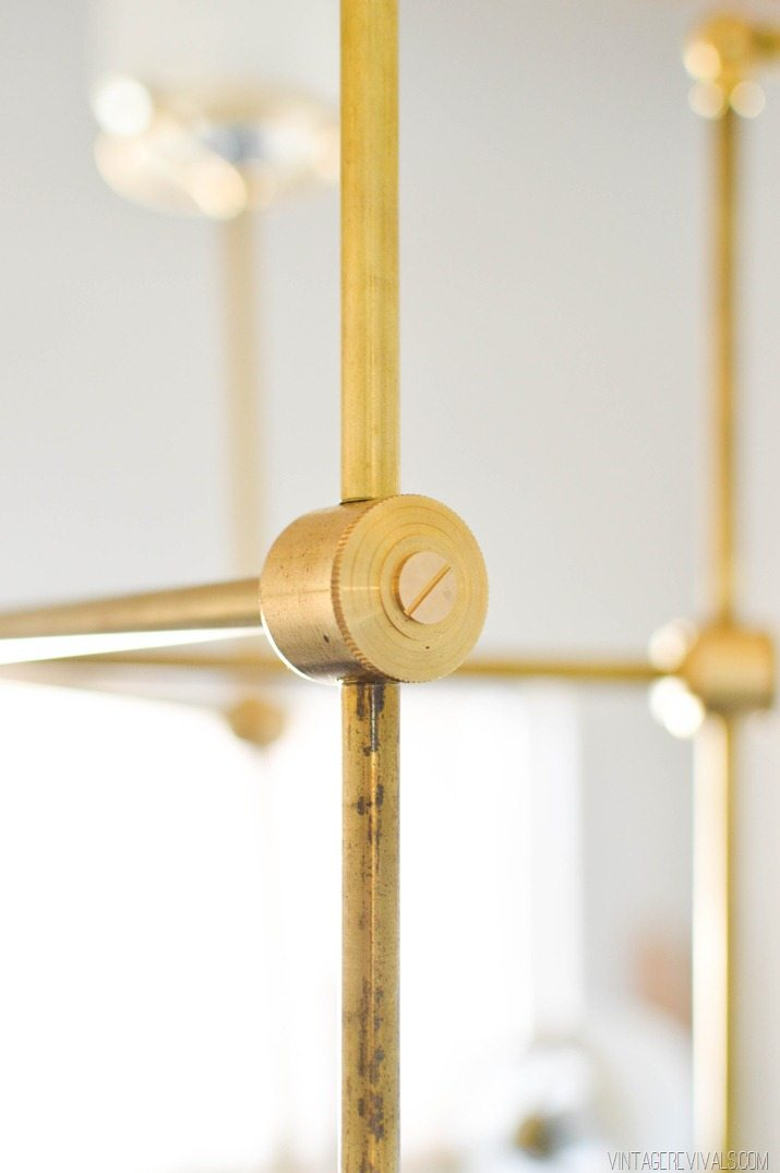 DIY Brass Bent Arm Chandelier-33