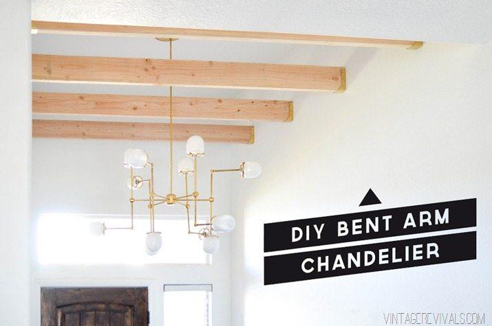 Simple DIY Brass Bent Arm Chandelier Tutorial