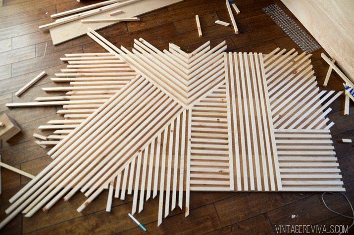 DIY Modern Square Dowel Art 8