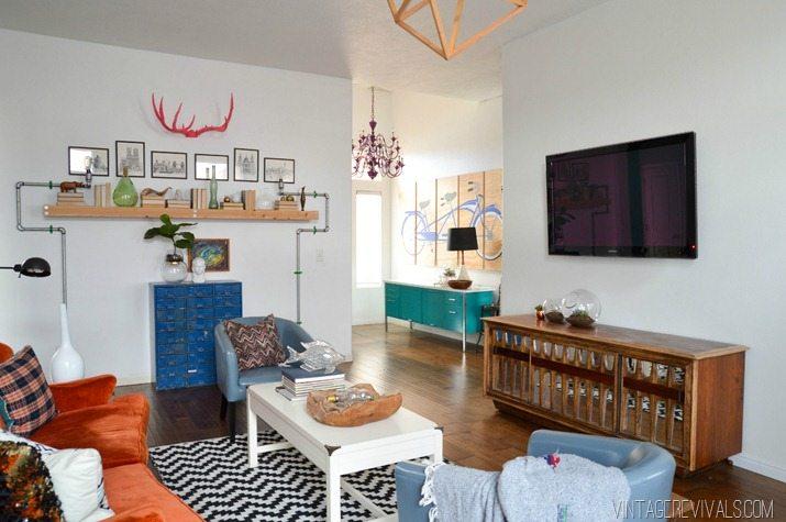 Loft Living Room Entryway Makeover Reveal Vintage Revivals
