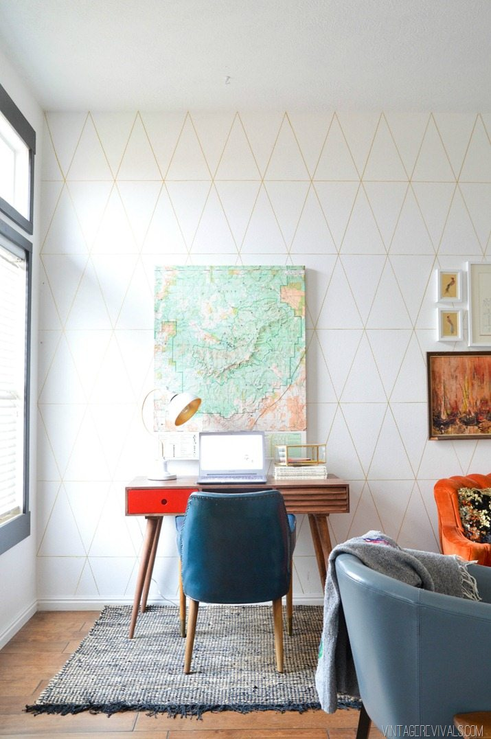 Geometric Wall Living Room Makeover @ Vintage Revivals