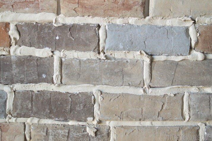 Grouting brick veneer vintage revivals for Interior brick veneer